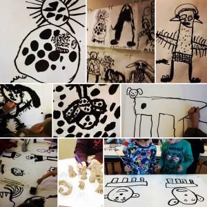 door jonge kunstenaar ontworpen en gemaakt wenswezens in 2D en 3D