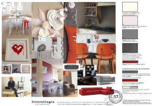 neutralen en warm rood accent in het interieur