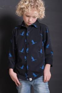 tricot shirt voor jongens met blauw vogel dessin