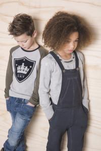 mode in grijs melee en sweat stof voor kids ontworpen door deenendingen