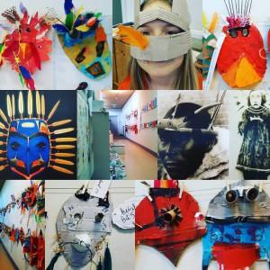 magische maskers gemaakt tijdens kunstlessen in groep 5