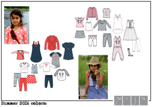 mode ontwerpen sets in rood blauw grijs en in grijs wit roze