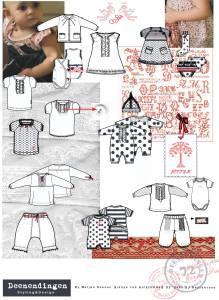 sfeer collages en schetsen van kleding voor new born meisjes