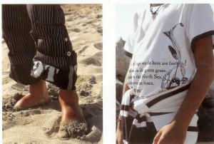 streepjes, tekst en vissenprint op t shirt en broek met bijzondere details