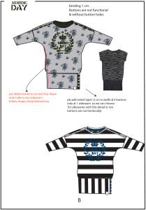 schets ontwerp van tuniek kinderkleding